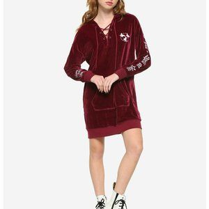Disney Hocus Pocus Velour Lace-Up Hoodie Dress Red
